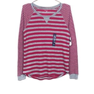 NWT Gap Striped Red Gray Long Sleeve Thermal Top